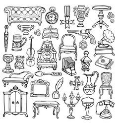 Antiques doodle set vector