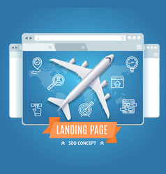 Landing page search engine seo concept vector