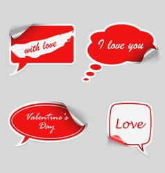Valentine red stickers dialog bubble vector