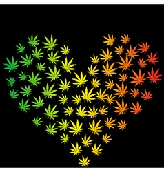 Heart made of marijuana leaves vector