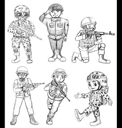 Sketches of soldiers vector