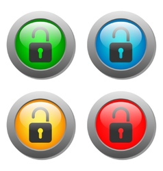 Open lock icon on glass buttons vector