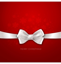 Red christmas background with white silk bow vector