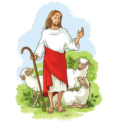 Jesus is a good shepherd christian easter theme vector
