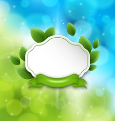 Abstract label with eco green leaves and ribbon on vector image