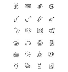 Music hand drawn doodle icons 3 vector