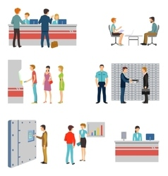 People in a bank interior flat icons set vector
