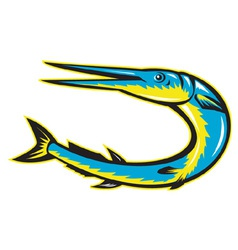 Needle fish jumping vector
