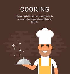 Male cartoon character chief with dish cooking vector
