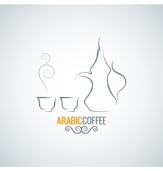 Arabic coffee vintage ornate background vector