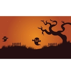 Halloween ghost and dry tree vector