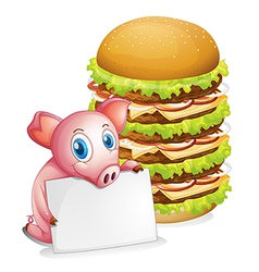 A pig holding an empty paper beside a pile of vector image vector image