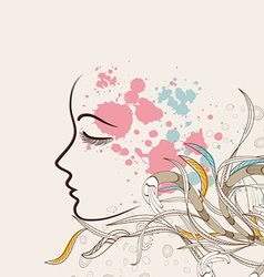 Beautiful doodle girl silhouette with floral vector image