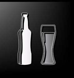 Beer bottle sign gray 3d printed icon on vector