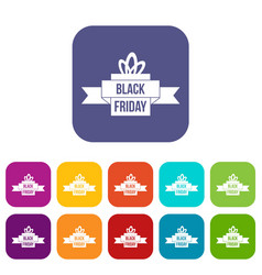 Black friday ribbon icons set vector