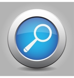 blue metal button with magnifier vector image