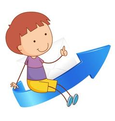 Boy on arrow vector image vector image