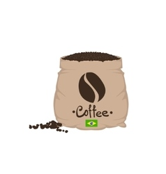 Brazilian coffee beans in a sack vector