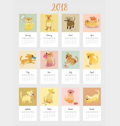 Calendar 2018 cute monthly calendar with vector