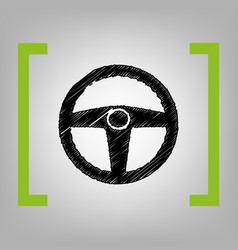 Car driver sign black scribble icon in vector
