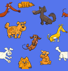 cartoon pattern with dogs vector image vector image