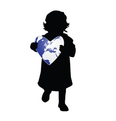 Child holding planet earth vector