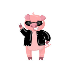 Cute pig character in a black jacket and vector