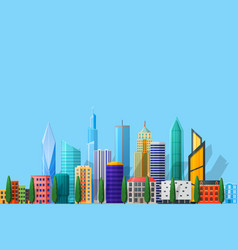 Detailed flat city vector