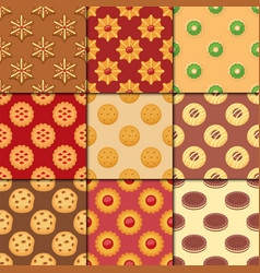 different cookie cakes seamless pattern background vector image