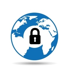 Globe world icon padlock security design vector
