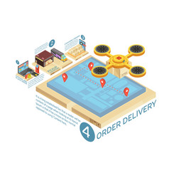 Goods online delivery isometric infographics vector