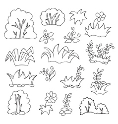 Grass and flowers cartoon coloring book for kids vector image vector image
