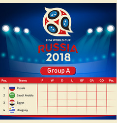 Group a qualifier table russia 2018 world cup vect vector