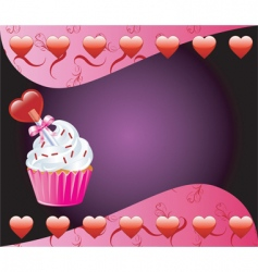 heart cupcake vector image vector image