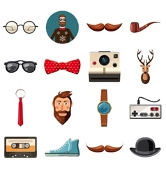 Hipster items icons set cartoon style vector