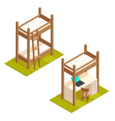 Isometric bunk bed and loft bed vector