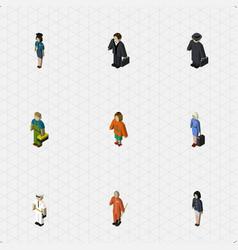 isometric people set of seaman detective hostess vector image vector image