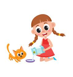 Little girl pouring milk into bowl feeding cat vector