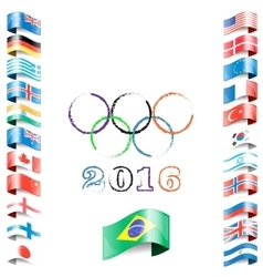 Olympic flags rings rio vector