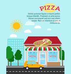 Pizza advertising banner with shop building vector