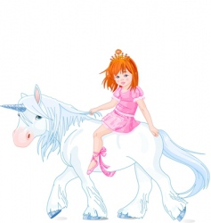 princess on unicorn vector image vector image