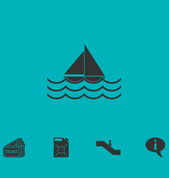 sailboat icon flat vector image vector image