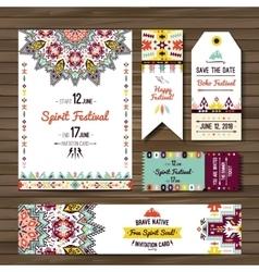Set of geometric boho flyers decorative vector