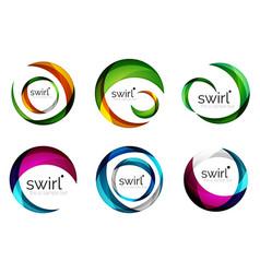 set of swirl circles abstract icons circle vector image