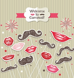 Stickers collection of mustaches and lips vector