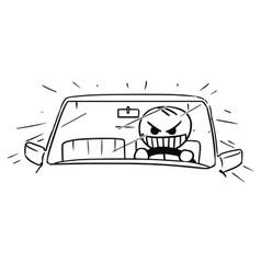 stickman cartoon of mad car driver vector image