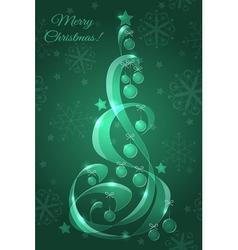 Stylized glass Christmas tree with Christmas balls vector image