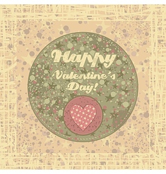 Valentines Day badge on abstract background vector image vector image