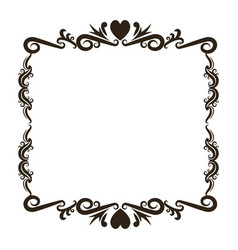 Vintage baroque frame scroll floral ornament vector