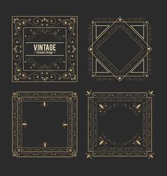 Vintage exclusive set of luxury golden badges and vector